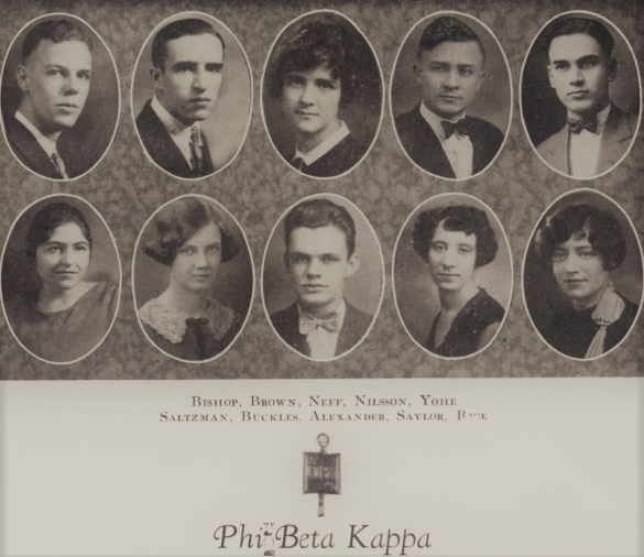 Quax photo of the Drake students inducted into Phi Beta Kappa  in 1927.